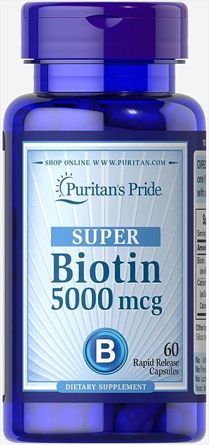 Biotina 5000 mcg 60 cápsulas. Puritans Pride 1 und.