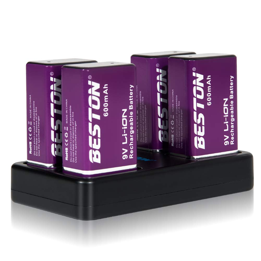 BESTON 9V Batteries and 9v Battery Charger 9 Volt 600mAh Rechargeable Lithium Ion Batteries Compatible with Smoke Alarms, Microphone, Toys' remotes, Medical Devices, interphone and More (4 Pack)