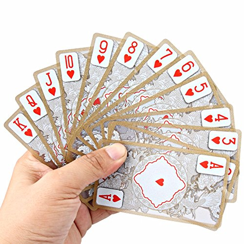 XIANGQI Waterproof Transparent PVC Poker Gold-Plated Gold Foil Plastic Playing Cards Dragon Totem Card Novelty Magic Trick ()