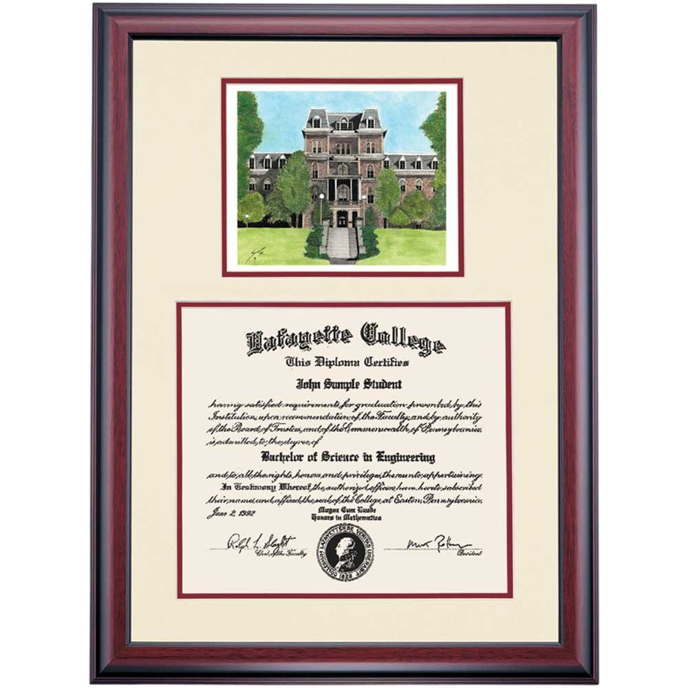 Lafayette Leopards Diploma Frame Ivory Maroon Matting Watercolor