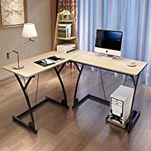 Soges L-Shaped 47.3inch Computer Desk with Bookshelf and Computer Tower Stand,Beige 812-WCA-N
