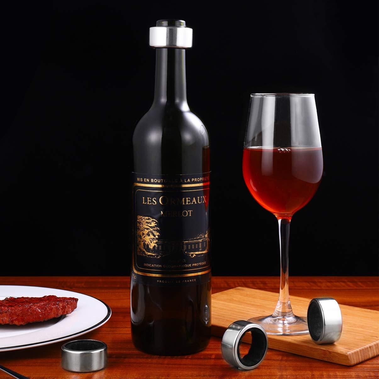 UPKOCH Collares de Botellas de Vino de Cocina de 4 Piezas Accesorios de Anillos de Vino de Acero Inoxidable para Restaurante de Bar en Casa Rojo