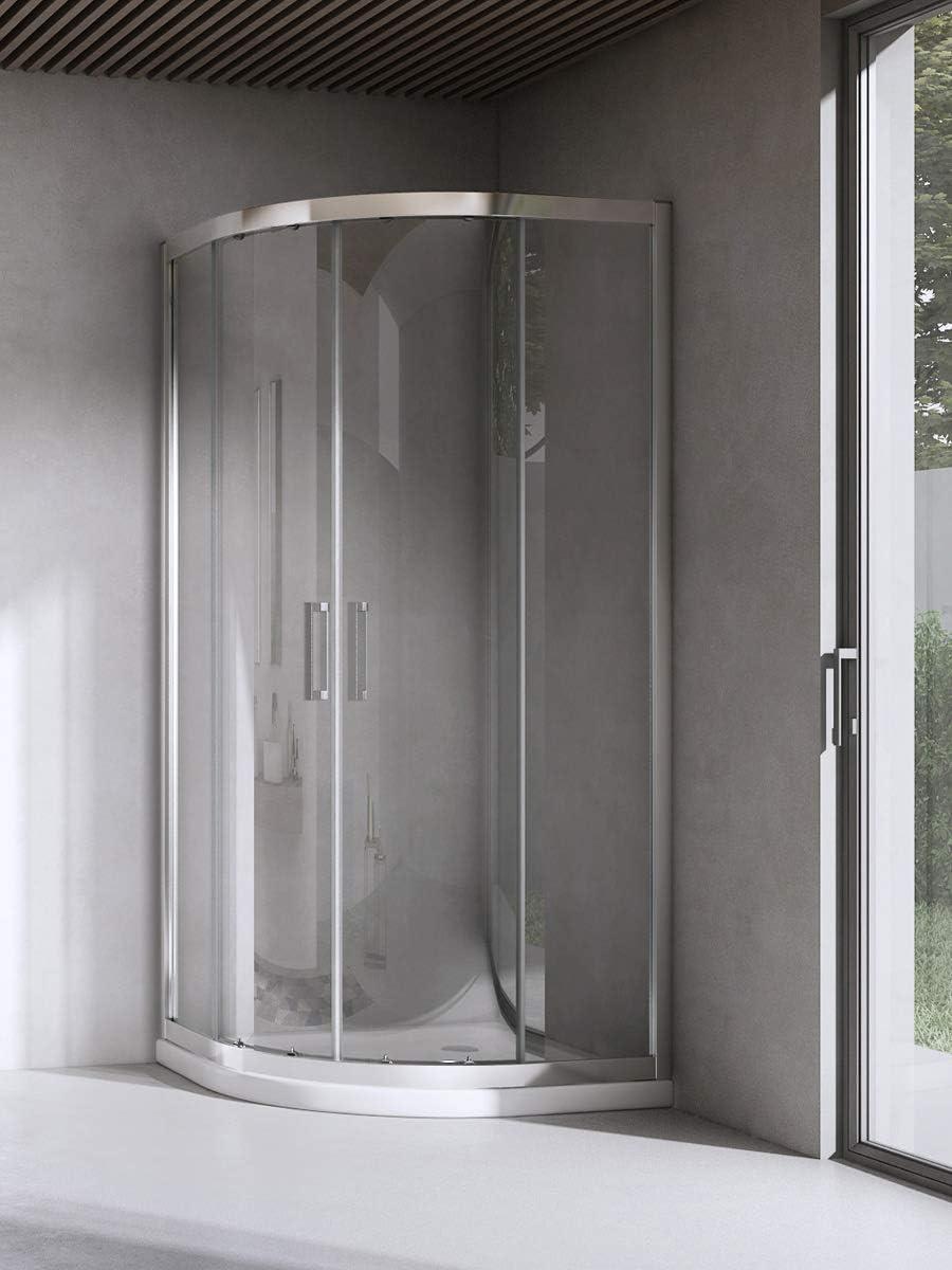 Yellowshop – Cabina ducha de baño curvada semicircular. Tamaño:80 x 80 cm, cristal 6 mm.Transparente, transparente: Amazon.es: Bricolaje y herramientas