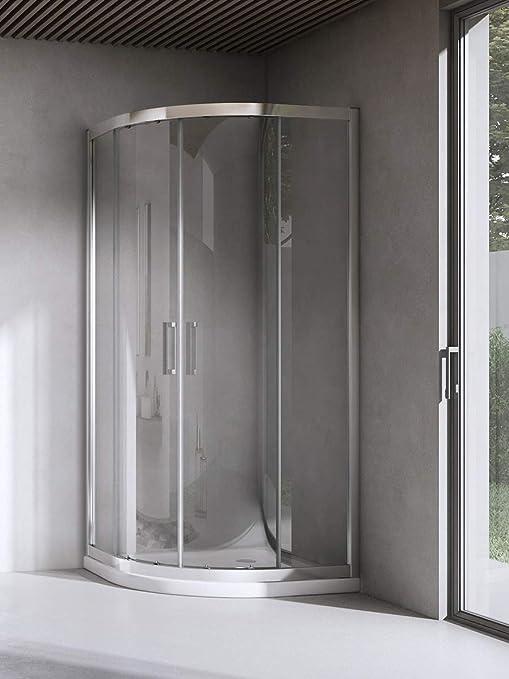 Yellowshop – Cabina ducha de baño curvada semicircular. Tamaño:80 ...