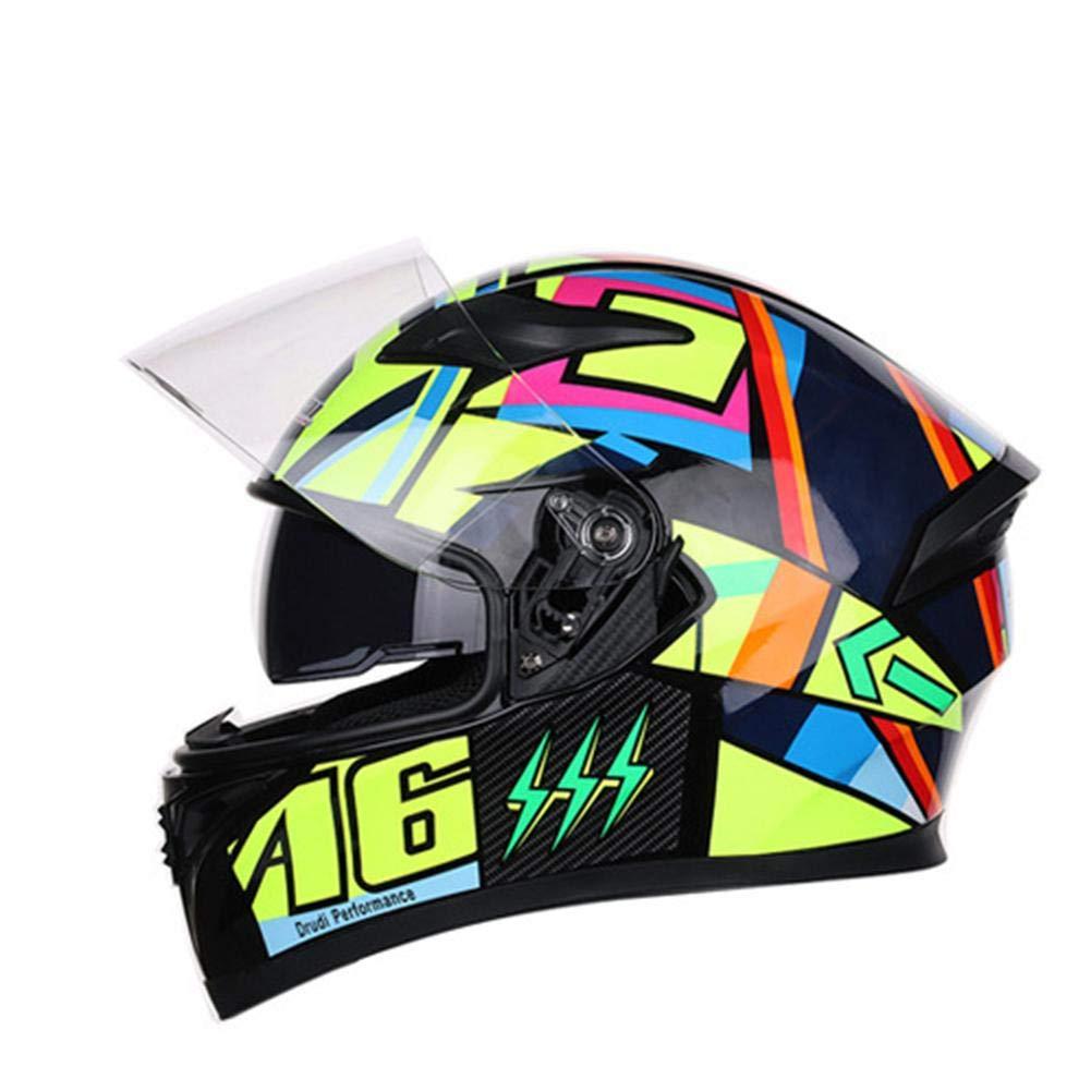 Full Face Helmet Cover Motorcycle Helmet Men and Women Personality Cool Four Seasons Double Lens Motorcycle Racing Helmet Ksruee