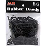 JAM Paper Rubber Bands - #33 Size - Black Rubberbands - 100/pack