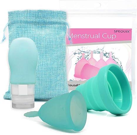 Taza menstrual de 1 pieza con 1 taza esterilizada y 1 subbotella para loción desinfectante (pequeño)