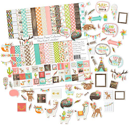 - Die Cuts & Paper Set - Be Brave - by Miss Kate Cuttables - 16 Double - Sided 12