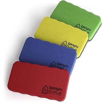 iGadgitz Home U6902 - Borrador Pizarra Blanca de Goma EVA y Fieltro (Paquete de 4) Borrador Magnetico para Limpia Rotuladores y Marcadorse - Colores: ...