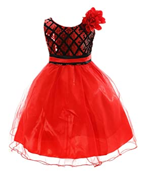 LaoZan Vestido Para Ninas Con Lentejuelas Vestido Flor Princesa Sin Mangas Boda Fiesta Vestidos Rojo 100CM