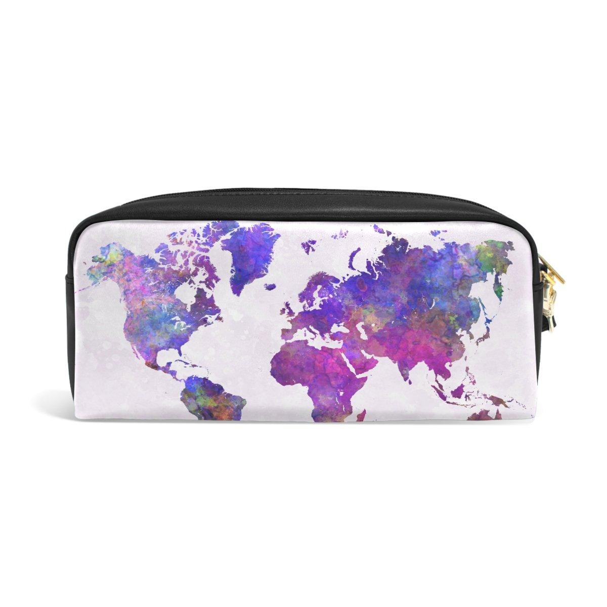 ZZKKO Federmappe mit abstraktem Wasserfarben-Welt-Motiv, Leder, mit Reiß verschluss, fü r Schreibwaren und Make-up 2628037p154c172s258