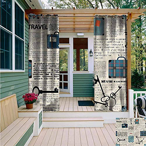 Beihai1Sun Outdoor Curtains,Old Newspaper Travel Vacation Theme,for Patio/Front