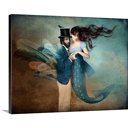 Catrin Welz-Stein Solid-Faced Canvas Print Wall Art Print Entitled A Mermaids Love 40 x30