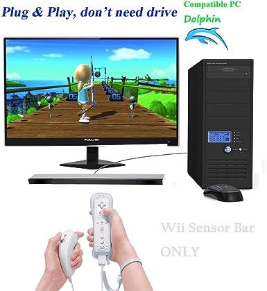 Barra de sensor de Wii, con cable USB, repuesto de barra de sensor de movimiento de rayos infrarrojos para Nintendo Wii/Wii U/PC, color negro y plateado: Amazon.es: Videojuegos