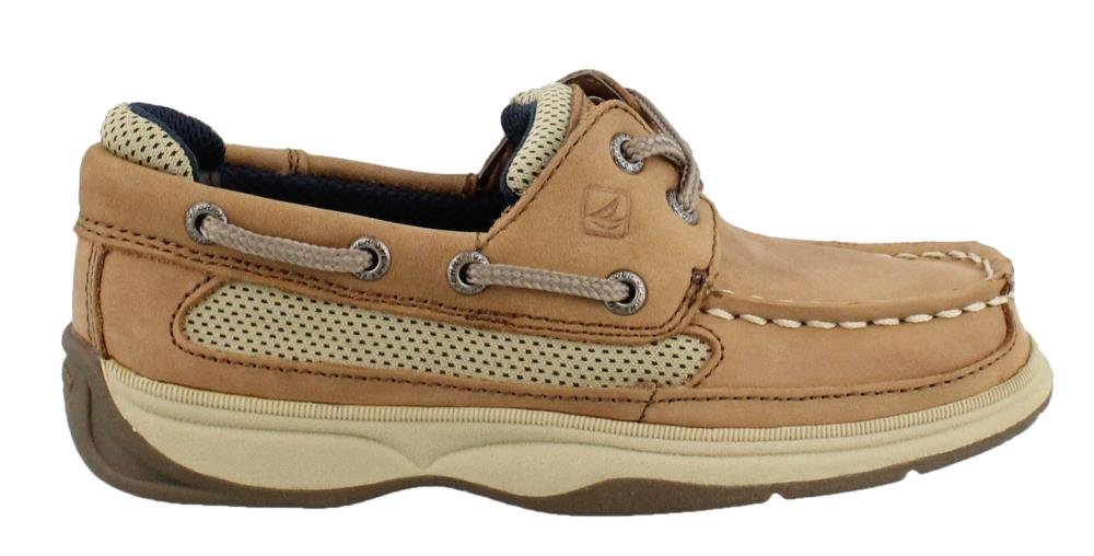 Sperry Lanyard Boat Shoe (Little Kid/Big Kid),Dark Tan/Navy,6.5 M US Big Kid