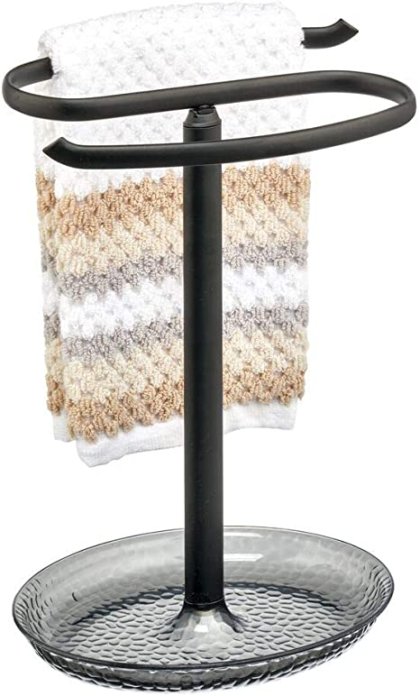 Bronze//Brown 2-Sided mDesign Decorative Metal Fingertip Towel Holder Stand with Base Tray for Bathroom Vanity Countertops to Display and Store Small Guest Towels or Washcloths