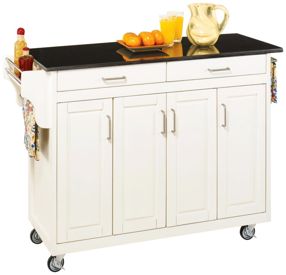 White portable kitchen island - Amazon Com Home Styles 9200 1024 Create A Cart 9200 Series Cabinet Kitchen Cart With Black Granite Top White Finish Kitchen Islands Carts