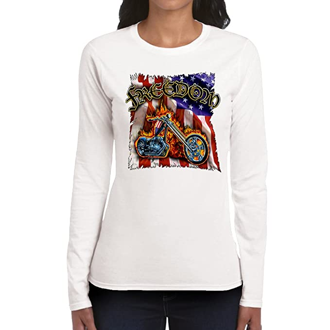 c5308558f14aa Image Unavailable. Image not available for. Color: Women's FREEDOM White  Long Sleeve ...