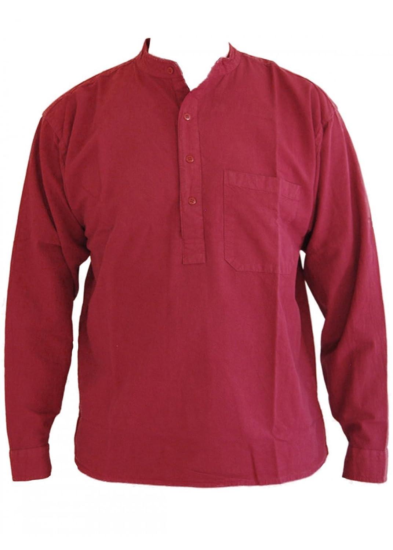 Wine Grandad Collarless Shirt Cotton Sizes Small to 2XL