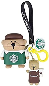 3D Cute Silicone Coffee Brown Green Bear Case Animal Style for Airpods1 and Airpod2 Cartoon Headphones Cover with The Bear Keychian for Girls Boys or Couples