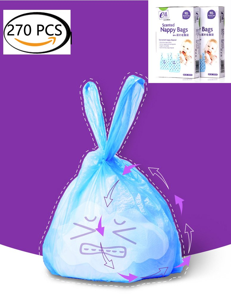 Easy-Tie Diaper Sacks Dispenser Antibacterial Scented Baby Diaper Disposable Bags for Travel Pack (Blue,270pcs(3 set))