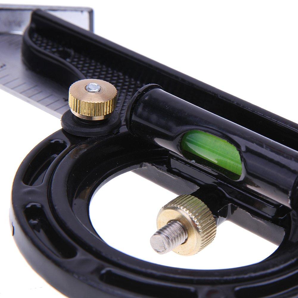 BKAUK 3-in-1 Verstellbares Lineal Multi-Kombination 300 mm//12 Messwerkzeuge Winkelmesser Universal-Lineal rechtwinklig Winkelmesser