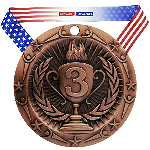 Flag Places - Decade Awards 3rd Place World Class Medal - Bronze   WCM Third Place Award   Includes Stars and Stripes American Flag Neck Ribbon   3 Inch Wide