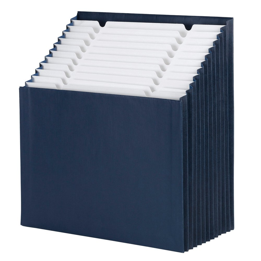 Smead Stadium File, 12 Pockets, Alphabetic/Monthly/Daily, Household/Blank Labels, Letter Size, Navy Blue (70211)