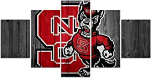 NC State Wolfpack Football Wall Decor Art Paintings 5 Piece Canvas Picture Artwork Living Room Prints Poster Decoration Wooden Framed Ready to Hang(60''Wx32''H)