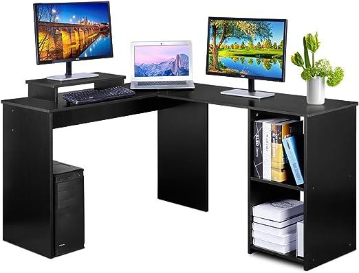 DOSLEEPS Escritorio para ordenador, en forma de L, esquina, grande ...