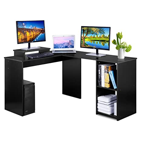 DOSLEEPS Escritorio para ordenador, en forma de L, esquina, grande, para ordenador portátil, escritorio, mesa de ...