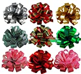 "Assorted Large Christmas Pull Bows for Gifts, Wreaths, Garlands - 8"" Wide, Set of 9, Metallic Red, Green, Gold, Silver"
