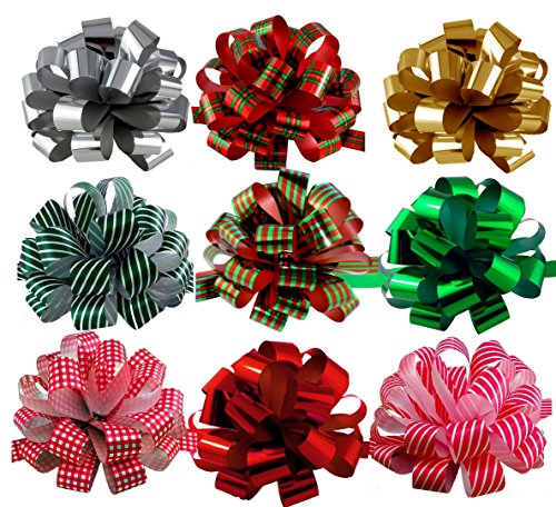 Assorted Large Christmas Pull Bows for Gifts, Wreaths, Garlands - 8 Wide, Set of 9, Metallic Red, Green, Gold, Silver