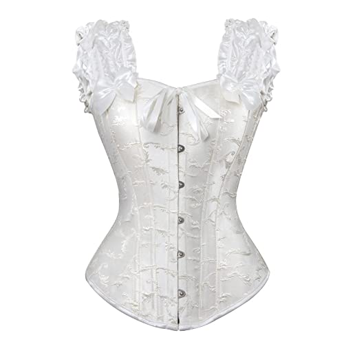 Grebrafan Women Ruched Sleeves Bridal Elegant Bustier Steel Boned Overbust Corsets