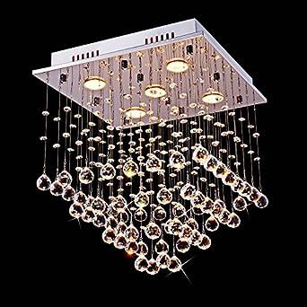 Saint Mossi Chandelier Modern K9 Crystal Raindrop Chandelier Lighting Flush Mount LED Ceiling Light Fixture Pendant Lamp for Dining Room Bathroom Bedroom Livingroom 5 GU10 Bulbs Required H18 W16 L16