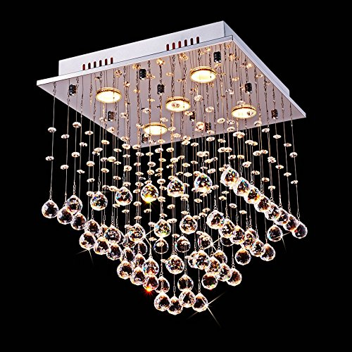 Saint Mossi Chandelier Modern K9 Crystal Raindrop Chandelier Lighting Flush mount LED Ceiling Light Fixture Pendant Lamp for Dining Room Bathroom Bedroom Livingroom 5 GU10 Bulbs Required H18 W16 L16 (Crystal Ceiling Chandelier)