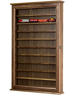 Model Train Display Case Wall Cabinet  N Scale  Walnut Hardwood *Made In The