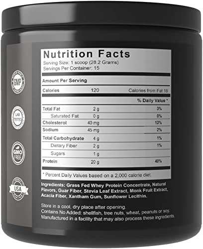 Biohack MD 100 Grass Fed Whey Protein with BCAA s – All Pure, Natural, Hormone Free – No GMOs – Dr. John Limansky, MD Formulated – Vanilla 14.9oz 423g – 15 Servings