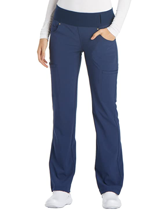 Cherokee iFlex CK002 Mid Rise Pull-On Pant Navy XS Tall best women's scrub pants