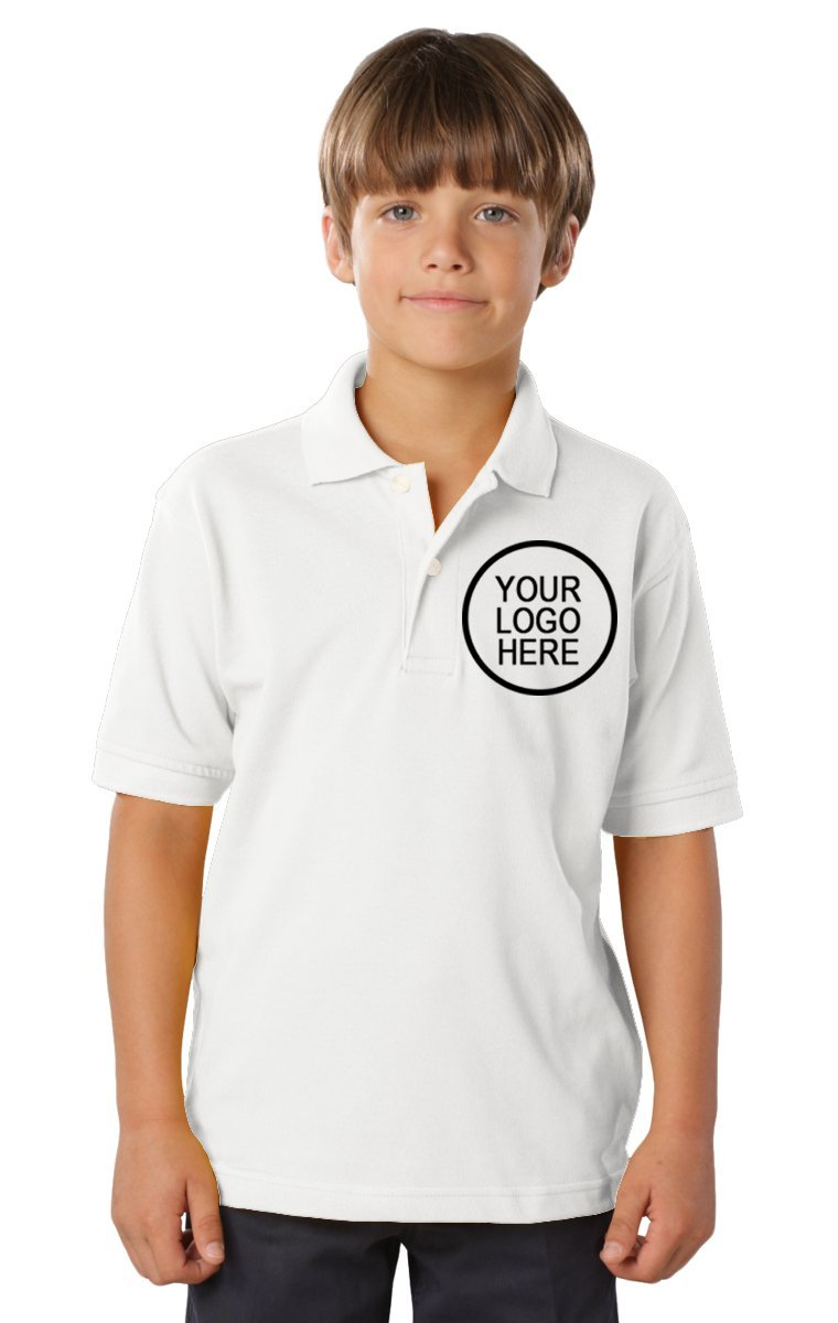 Blue Generation 24 Pieces Custom Logo Embroidered BG5300 Youth S/S Soft Touch Polo (White)