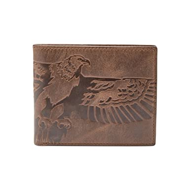 8242a8076efe3 Fossil Geldbörse EAGLE bifold Braun Adler ML3962-200 Herren Portemonnaies  Leder