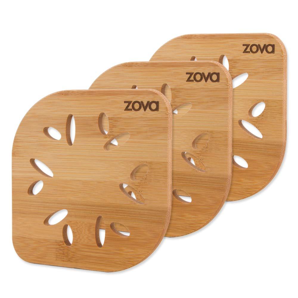zova Heat Resistant Bamboo Trivet Mat, Pack of 3, Size 5.9 x 5.9 x 0.3 Ningbo Zova Home Living Co. Ltd. SF7016