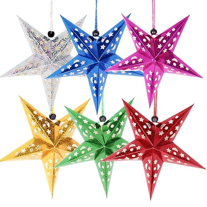 Kalaokei 30/cm gefaltet Papier Star Laternen 3D zum Aufh/ängen Papier Sterne f/ür Hochzeit Geburtstag Duschen Home Abend Party Fenster Dekoration Dark Yellow Fan 20cm