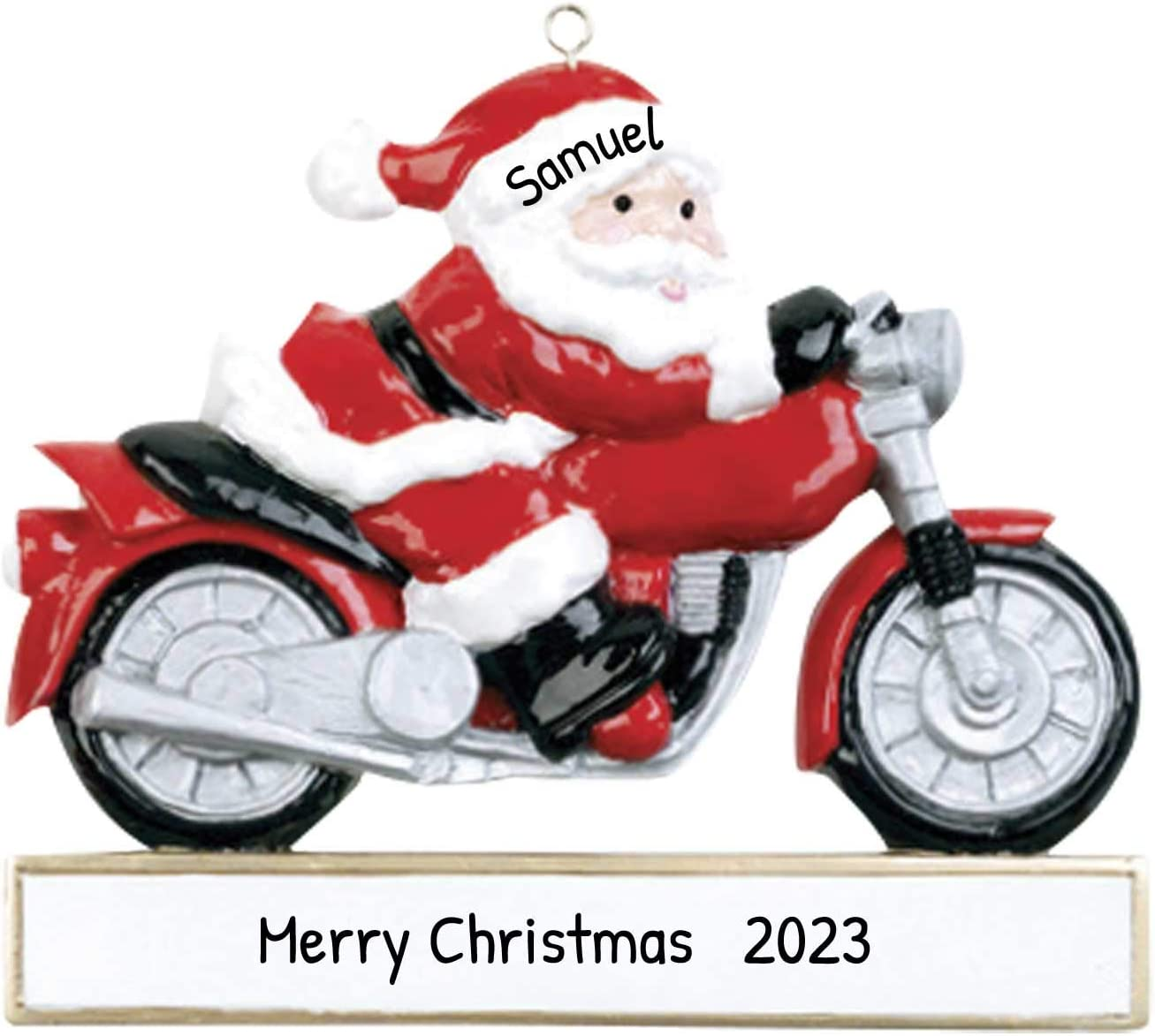 Amazon Com Personalized Motorcycle Christmas Tree Ornament 2020 Santa Suit Hat Chopper Sport Bike Motorist Papa Claus Cycling Profession Hobby Activity Bicyclist Child Free Customization Kitchen Dining