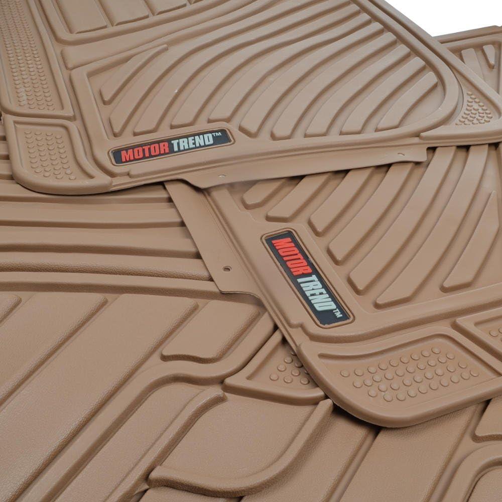 Motor Trend MT-774-BG FlexTough Standard-4-Piece Heavy Duty Rubber Floor Mats Beige Tan