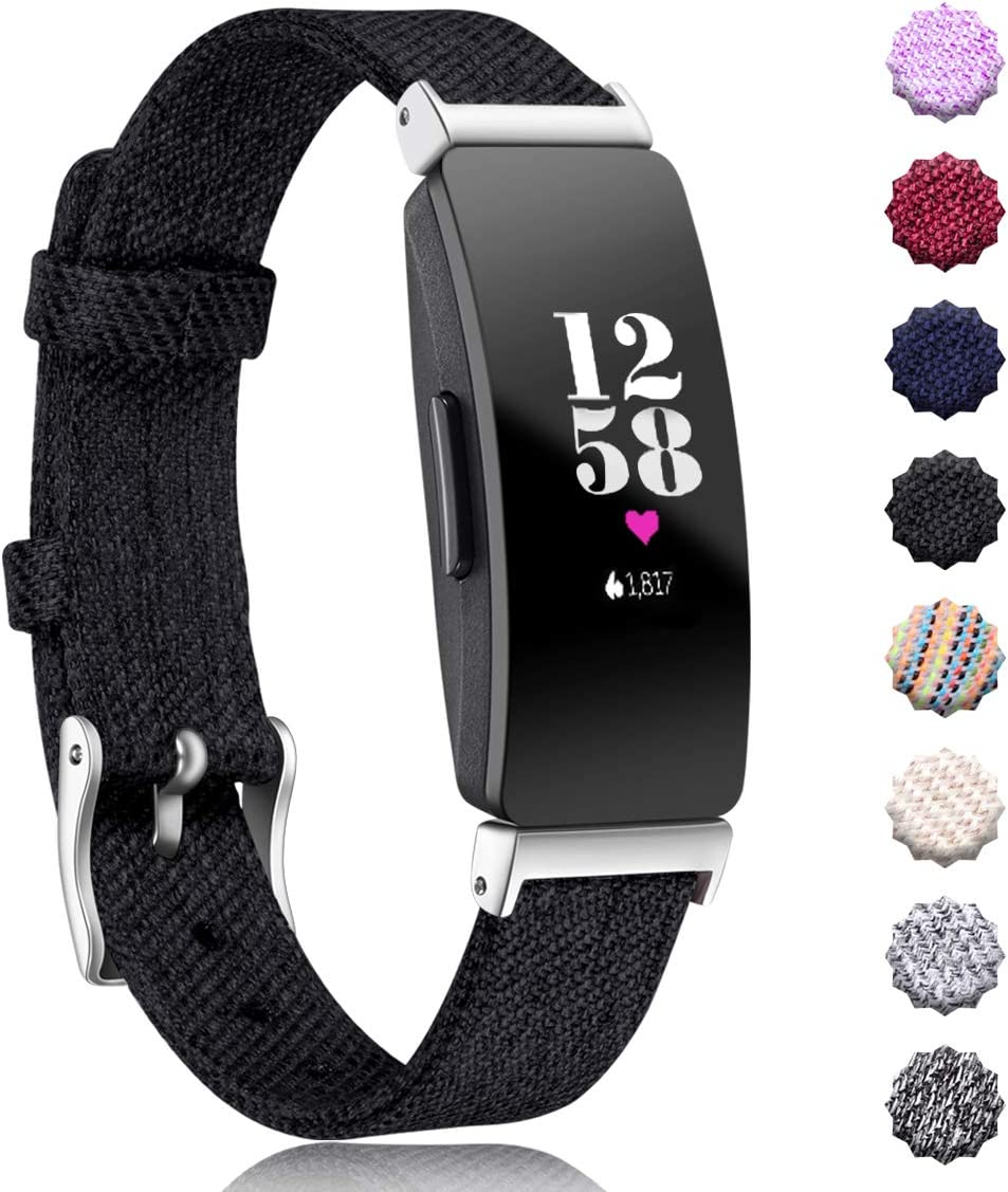 Maledan Replacement for Fitbit Inspire HR & Inspire Bands Women Men Large Small, Woven Fabric Accessories Strap Wrist Band Compatible with Fitbit ...