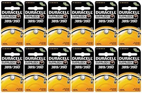 12-Pack Duracell 389/390 Batteries 1.5 Volt Silver Oxide Coin Button