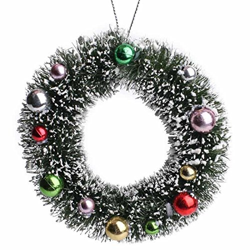 Wreath Decorated (Factory Direct Craft Package of 3 Miniature Hanging Frosted Decorated Sisal Wreath Ornaments for Tree Trim, Package Embellishments and Crafting)