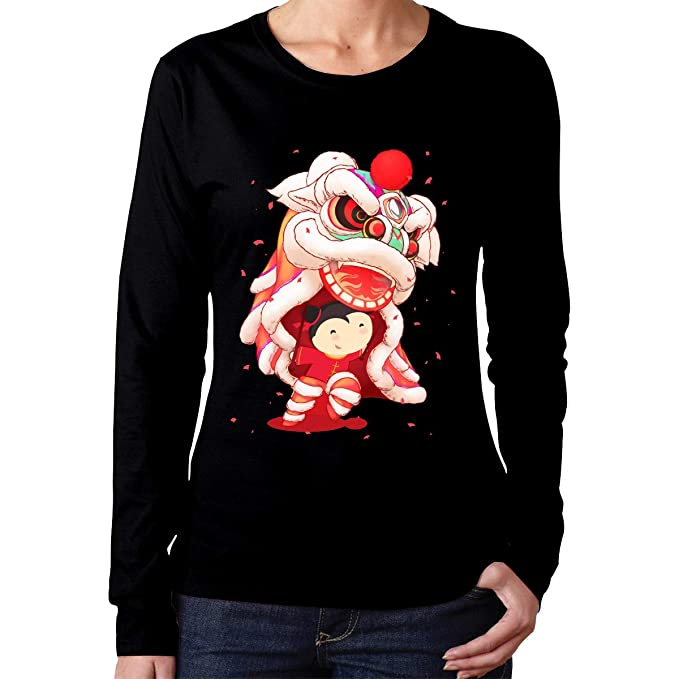 17b1579e8445a5 ACFUNEJRQ Chinese New Year Lion Dance Women's Cotton Long Sleeve Shirts  Casual Round Neck T-