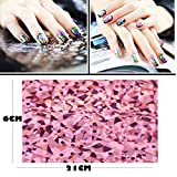 Lookathot 50 Sheets Nail Art Stickers Decals Mixed Color Star Aurora Mirror Design Glass Piece Broken Foil Paper Printing Nail DIY Decoration Tools